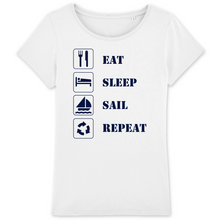 "tee shirt blanc femme coton bio ""Eat sleep sail repeat"" de chez Capitaine Voile"