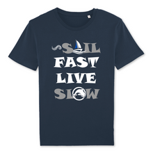 "tee shirt homme coton bio marine ""Sail fast live slow"" capitaine voile"
