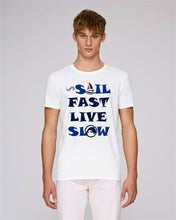 "tee shirt homme coton bio blanc ""Sail fast live slow"" capitaine voile"