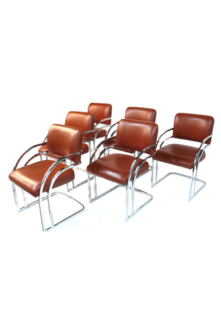 Set of 6 Chrome and Vinyl Dining Chairs