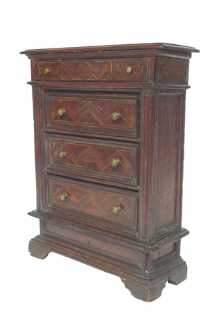 Early 18th Century Italian Four-Drawer Cabinet with Bone Inlays