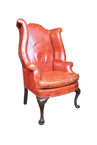 1930s Queen Anne-Style English Leather Wingback Chair