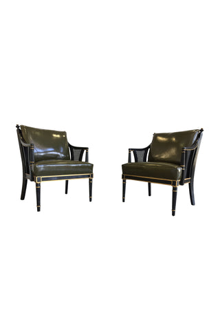 Pair of Napoleonic Revival Leather & Lacquered Wood Armchairs