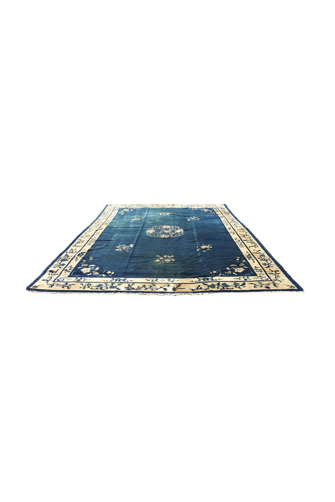 "1930s Chinese Navy Blue & White Art Deco Rug - 11' 6"" x 9' 1"""