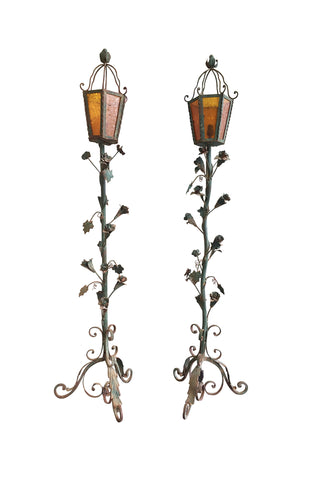 1930s Wrought Iron Vine Floor Lamp Torchièrs - a Pair