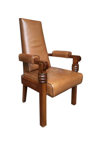 1940s Art Deco Leather & Oak Armchair by Charles Dudouyt
