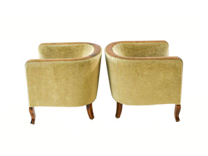 Pair of 1940s Mohair and Sycamore Burl Danish Art Deco Club Chairs