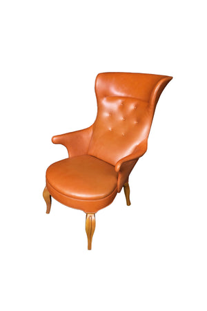 1940s Leather Wingback Armchair Attributed to Frits Henningsen