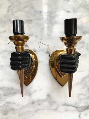 Pair of Midcentury Handform Wall Sconces in the Style of André Arbus