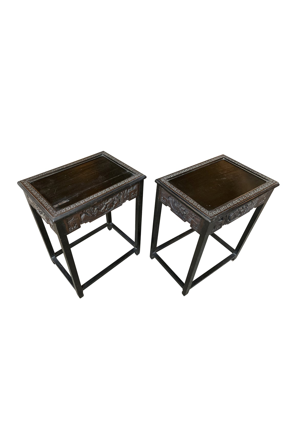 Pair of 1940s Chinese Carved Side Tables