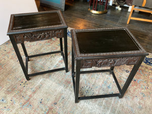 1940s Chinese Carved Side Tables - a Pair