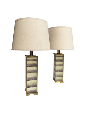 Pair of 1940s Lightolier Frosted Glass Table Lamps in the Style of James Mont