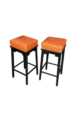 Pair of 1950s Leather & Lacquered Bar Stools in the Style of James Mont