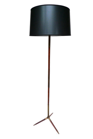 1950s Brass & Mahogany Floor Lamp