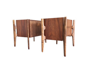 1950s Edmond Spence Curved Walnut & Birch Nightstands for William Hinn - a Pair