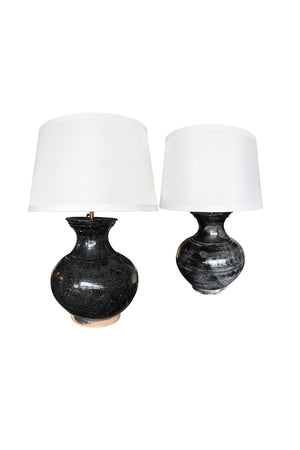 Pair of 1950s Black Craquelure Glaze Ceramic Table Lamps - ON HOLD