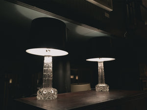 Pair of 1950s Orrefors Art Glass Table Lamps by Carl Fagerlund