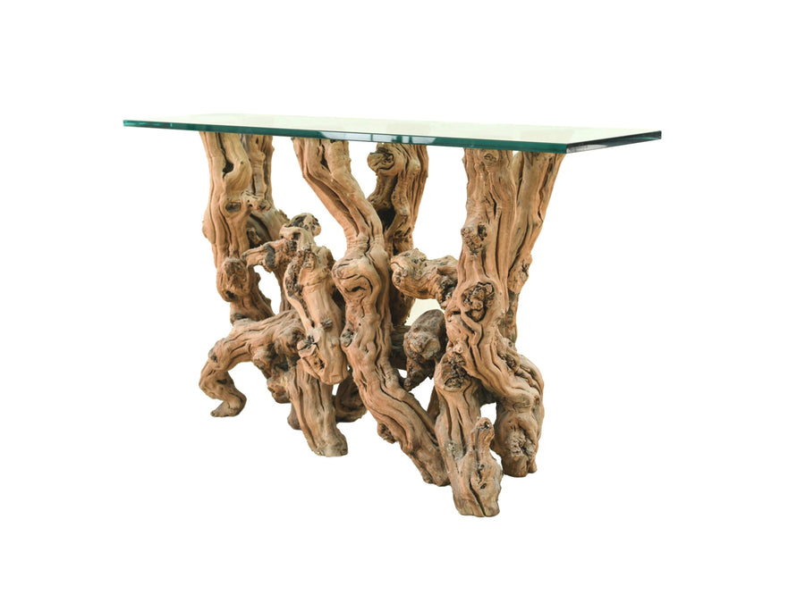 Cypress Root Console Table With Glass Top