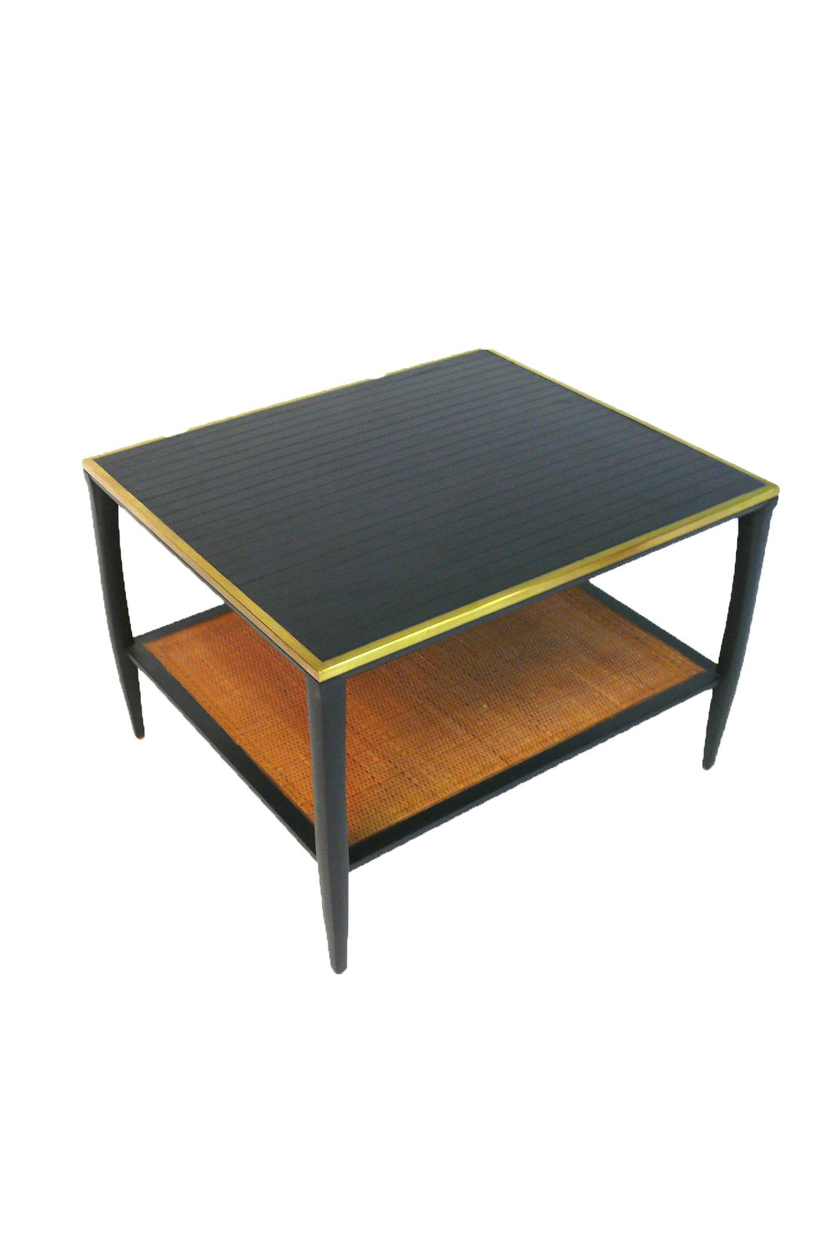 1960s Brass-Trimmed & Caned Side Table