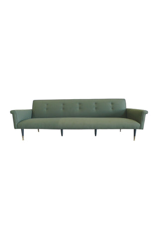 1960s Reupholstered Green Wool Sofa in the Style of Edward Wormley