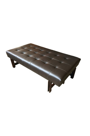 1960s Leather & Rosewood Bench by Ico Parisi