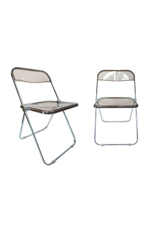 1960s Plia Lucite & Chrome Folding Chairs by Giancarlo Piretti - a Set of 6