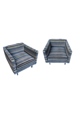 1960s Milo Baughman Club Chairs in Paul Smith Fabric - a Pair
