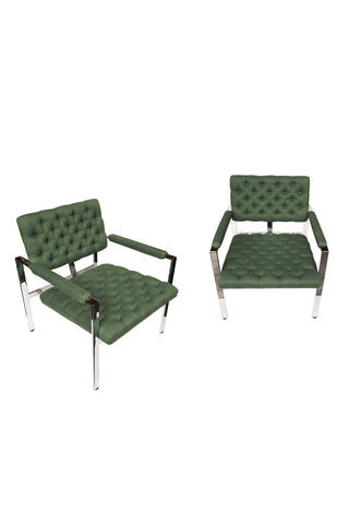 1960s Flat-Bar Chrome Club Chairs by Milo Baughman for Thayer Coggin - a Pair