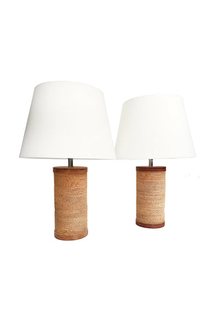 1960s Corrugated Cardboard Table Lamps by Gregory Van Pelt - a Pair