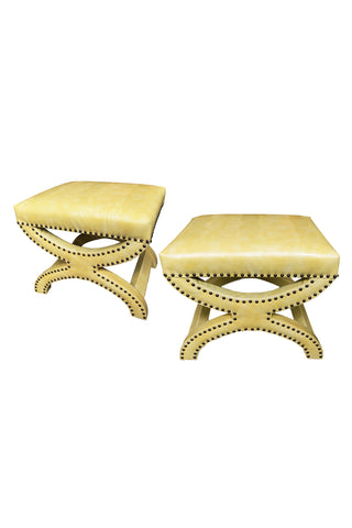1960s Yellow Leather Bench-Ottomans in the Style of Grosfeld House - a Pair