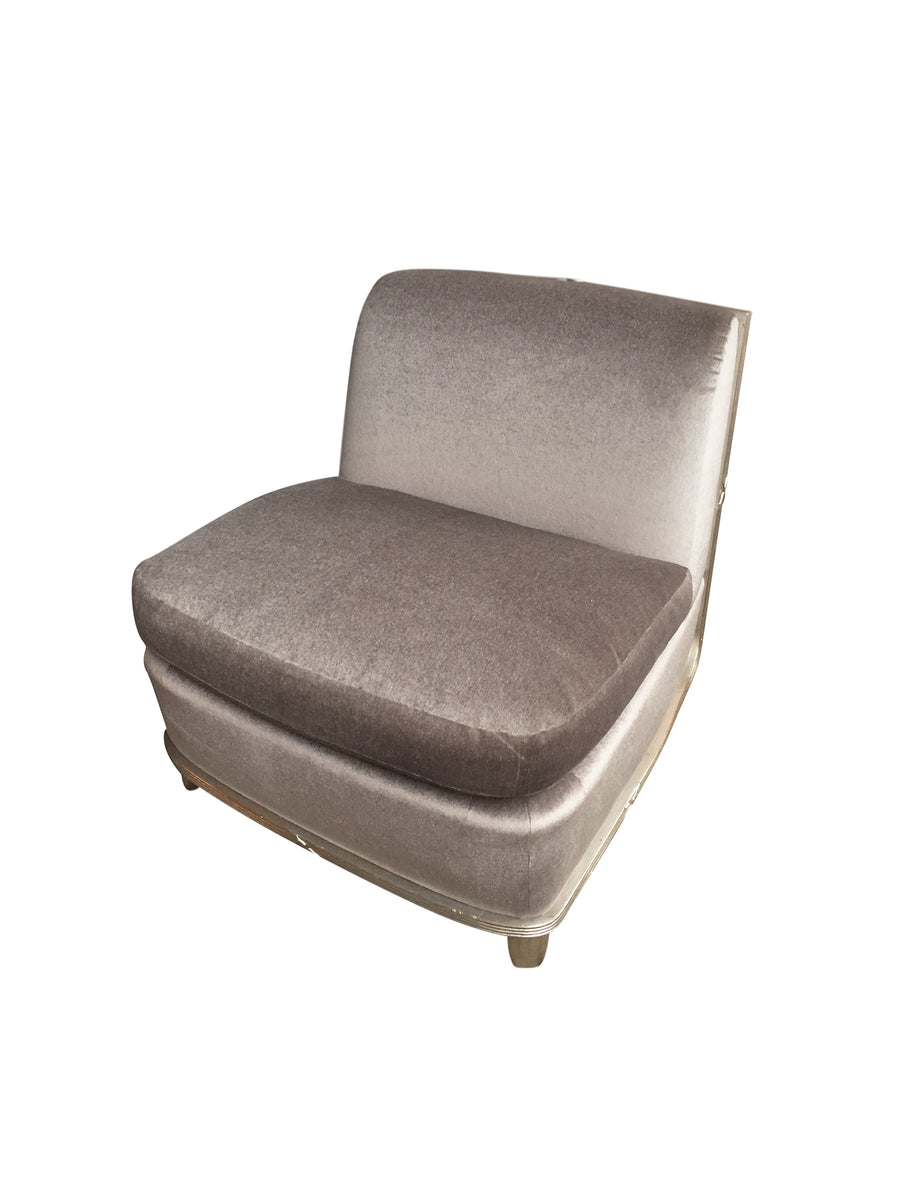 1960s Silver Mohair Lounge Chair in the Style of James Mont