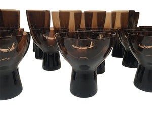 Set of 1960s Smoke-Tint Glassware