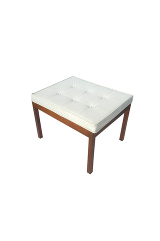 1960s White Vinyl Tufted Bench by Hibriten Chair Co.