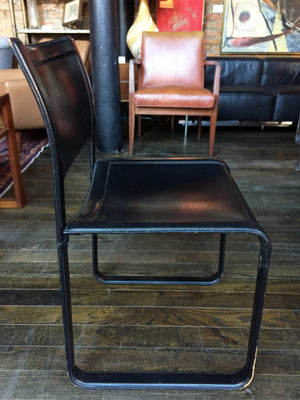 "1970s Black Leather ""Sistina"" Chairs by Tito Agnoli for Matteo Grassi - a Set of 4"