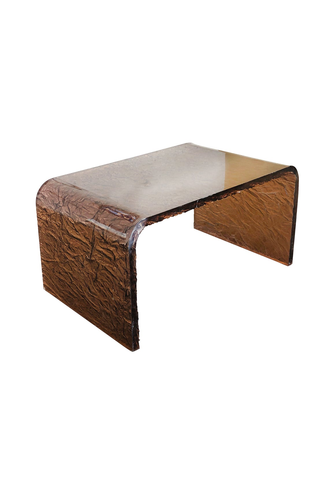 Karl Springer Style Copper-Toned Lucite Side Table
