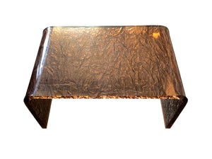 Karl Springer Style Copper-Toned Lucite Side Table - ON SALE