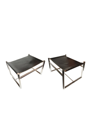1970s Bauhaus Style Leather & Chromed Steel Bench Ottomans - a Pair