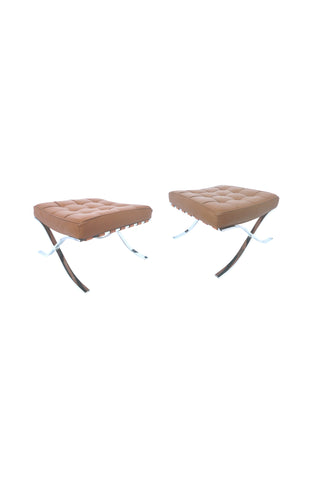 Pair of 1970s Barcelona-Style Leather Ottomans