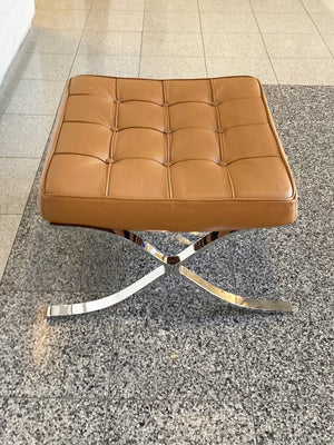 1970s Leather Ottoman in the Style of Mies van der Rohe