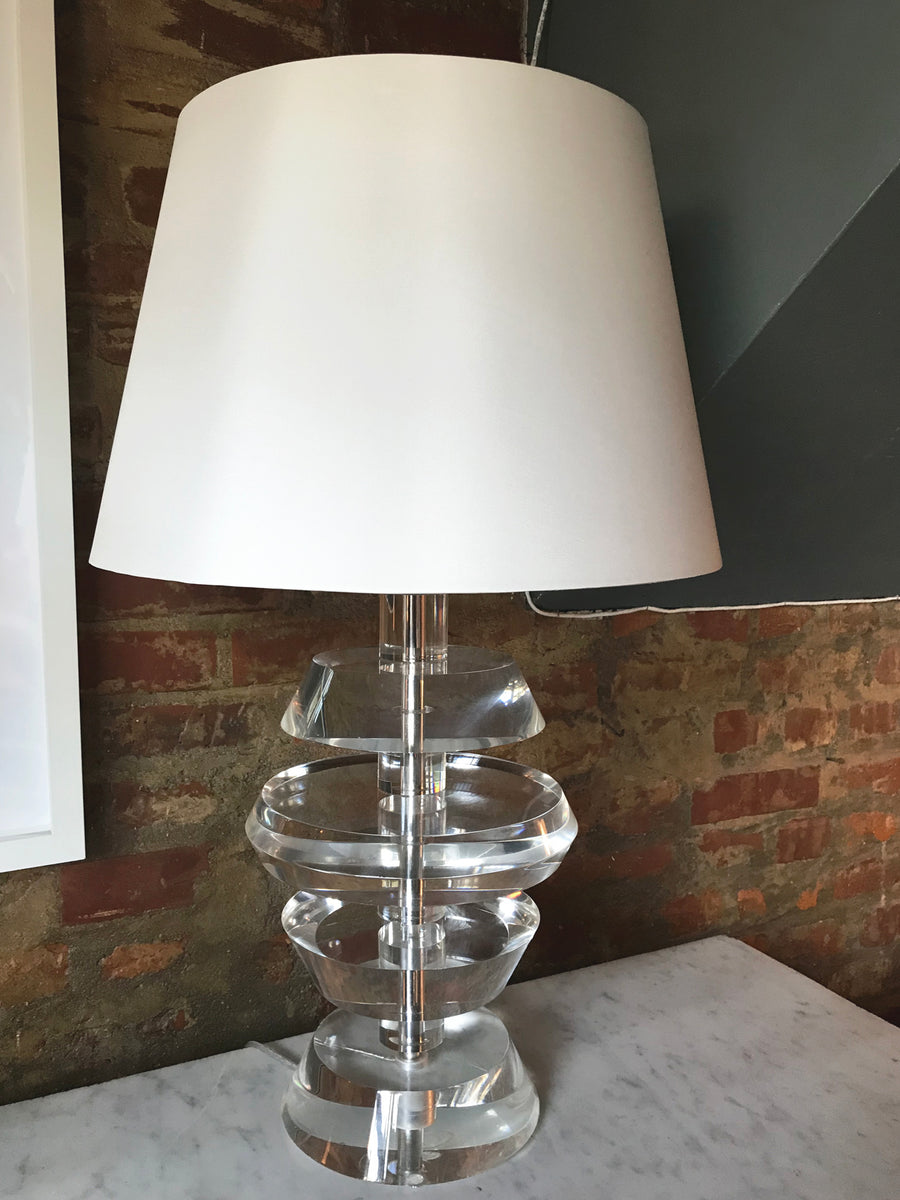 1970s Lucite & Chrome Table Lamp in the Style of Karl Springer