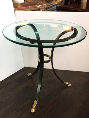 1970s Maison Jansen-Style Metal & Glass Side Table