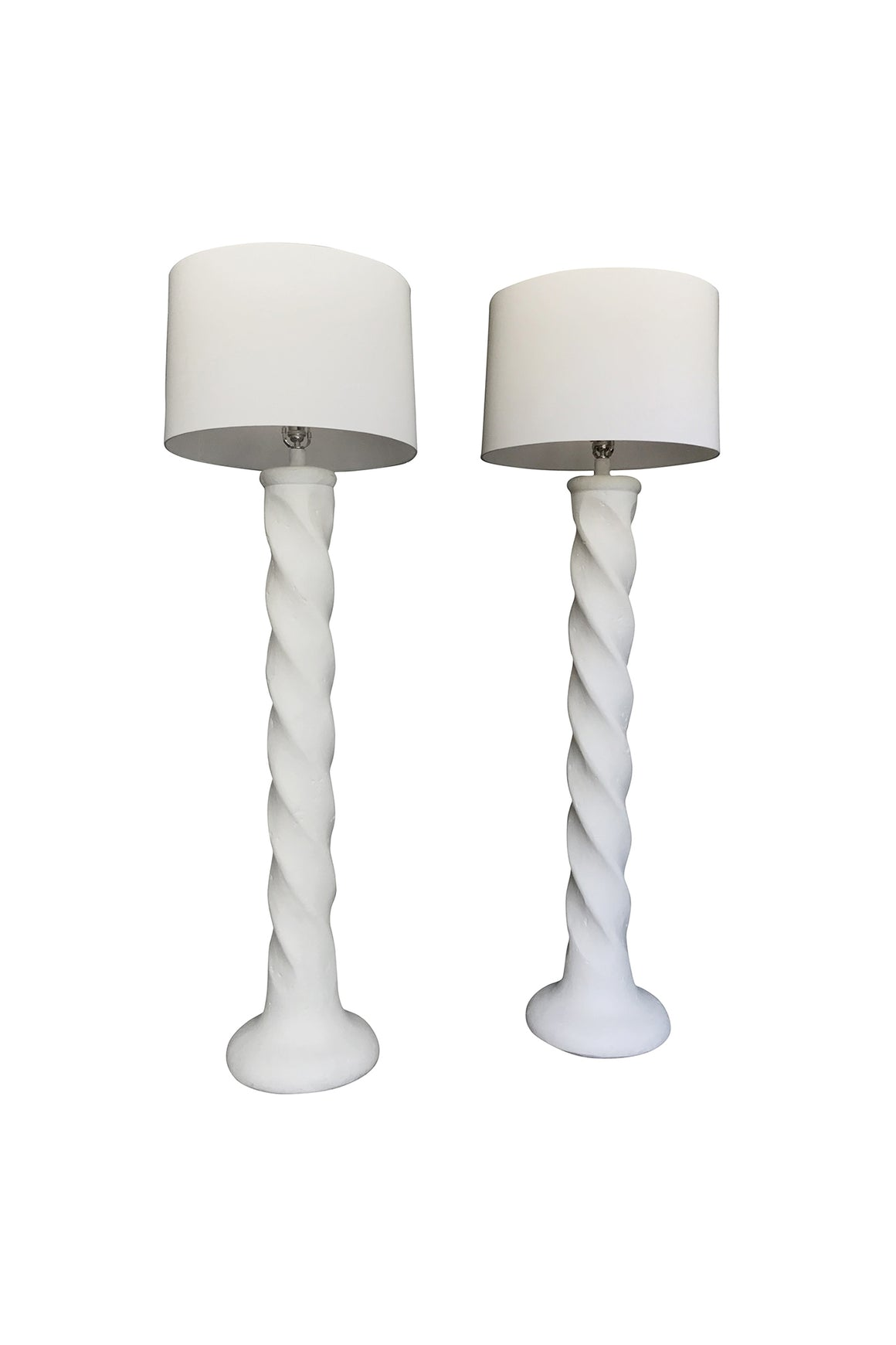 1970s Michael Taylor Spiral Column Lamps – a Pair