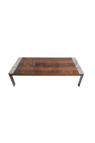 1970s Milo Baughman Chrome & Rosewood Coffee Table