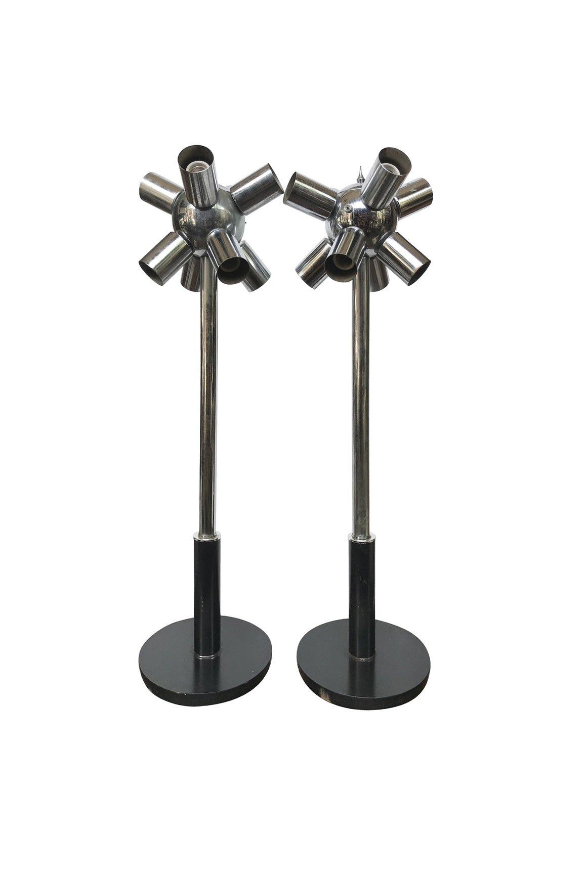 Pair of 1970s Space Age Style Chrome Table Lamps