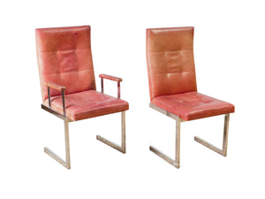 Milo Baughman Style Leather & Chrome Dining Chairs - a Set of 6