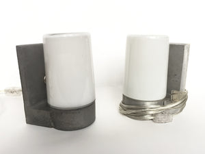 1970s White Glass & Aluminum Wall Sconces - ON SALE