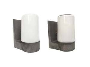 1970s White Glass & Aluminum Wall Sconces - 2 Available