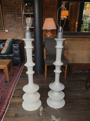 Pair of 1970s Space Age White Lacquered Floor Lamps