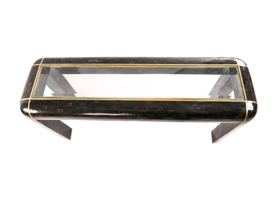 1980s Maitland Smith Tessellated Horn and Brass Console Table