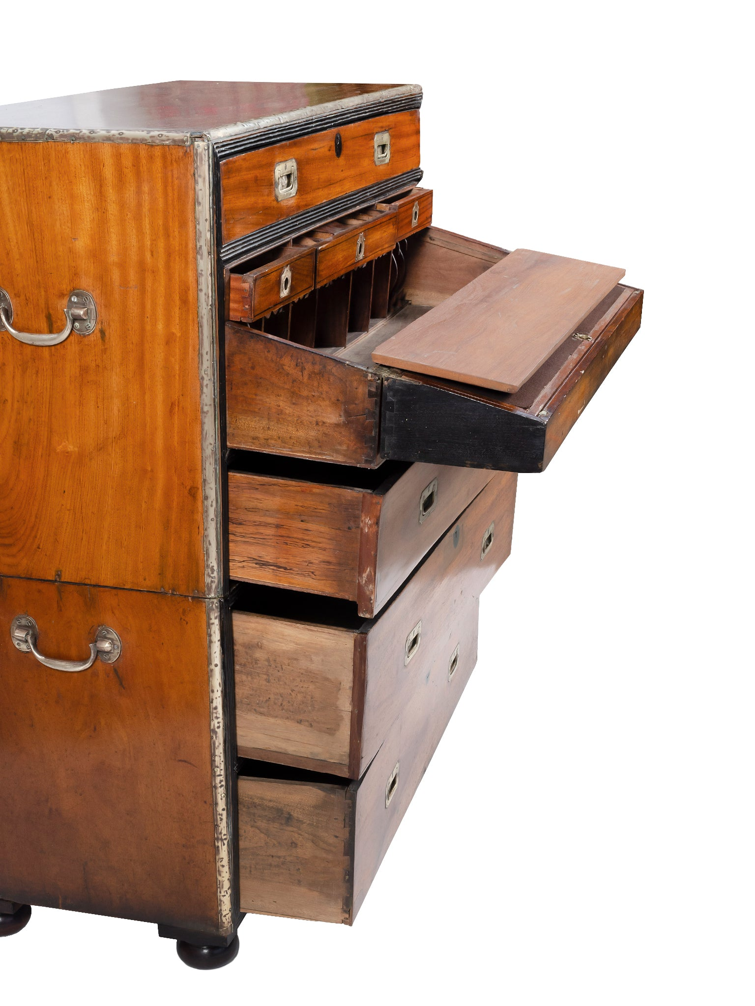 uk availability c3975 7212c 19th Century Two-Part Mahogany Campaign Chest With Secretary Desk
